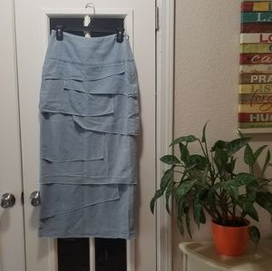 Ladies Light Jean and White Striped Skirt